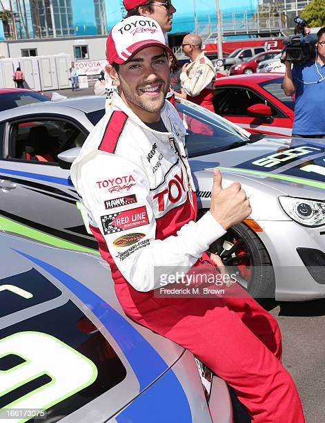 Actor Jesse Metcalfe gives a thumbs up during the 37th Annual Toyota Pro/Celebrity RacePractice Day on April 9 2013 in Long Beach California