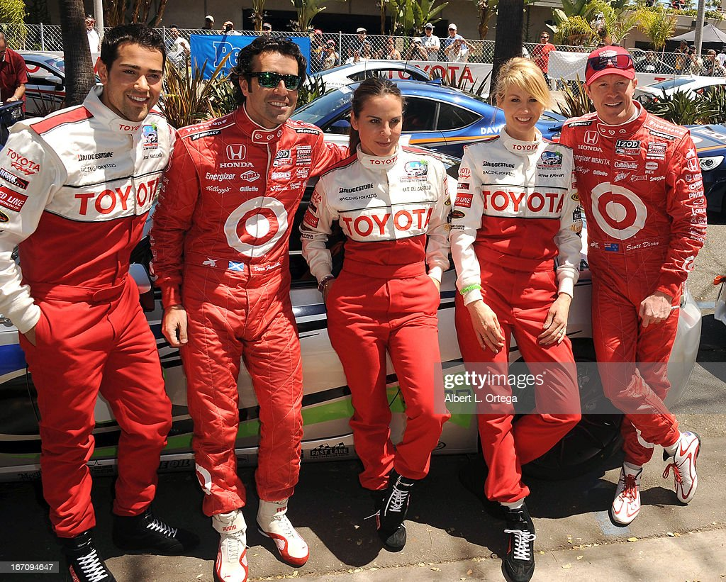 Actor Jesse Metcalfe, NASCAR driver Dario Franchitti, actress Kate del Castillo, actress Jenna Elfman and NASCAR driver Scott Dixon participate in the 37th Annual Toyota Pro/Celebrity Race - Qualifying Day held on April 19, 2013 in Long Beach, California.
