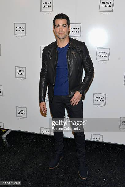 Actor Jesse Metcalfe poses backstage at the Herve Leger By Max Azria fashion show during MercedesBenz Fashion Week Fall 2014 at The Theatre at...