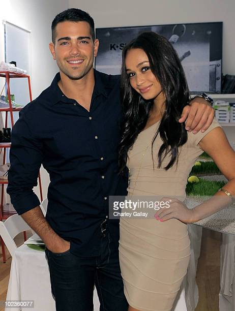 Actor Jesse Metcalfe poses with actress Cara Santana while hosting the KSwiss Players Know Dinner at the K Swiss showroom on June 23 2010 in Venice...