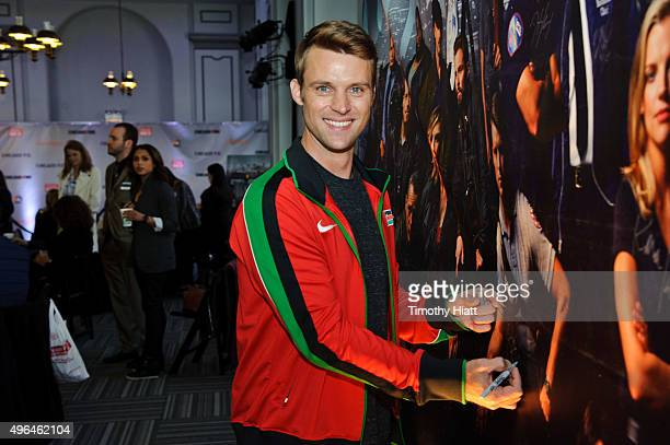 Actor Jesse Spencer attends a press junket for NBC's 'Chicago Fire' 'Chicago PD' and 'Chicago Med' at Cinespace Chicago Film Studios on November 9...