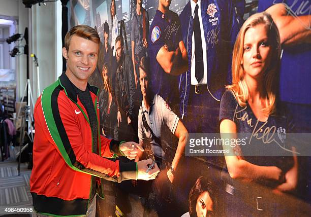 Actor Jesse Spencer signs a poster at a press junket for NBC's 'Chicago Fire' 'Chicago PD' and 'Chicago Med' at Cinespace Chicago Film Studios on...