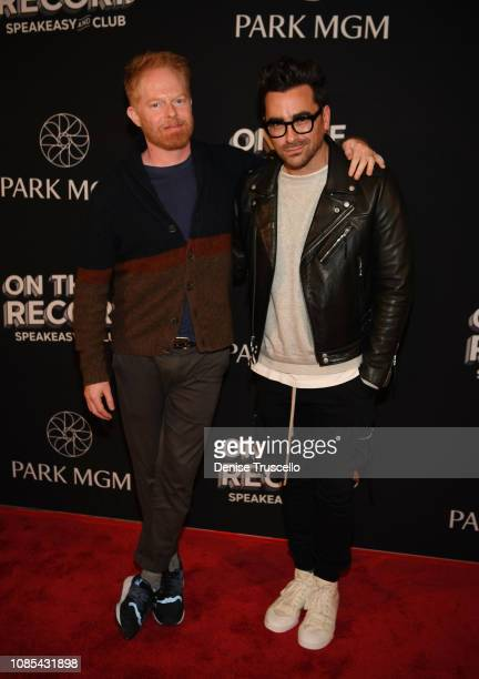 Actor Jesse Tyler Ferguson and Actor/writer/producer Dan Levy arrive at the grand opening celebration of On The Record Speakeasy and Club at Park MGM...