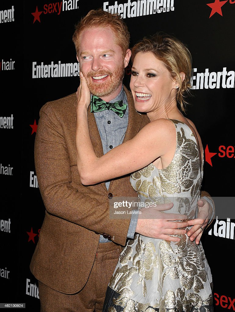 Actor Jesse Tyler Ferguson and actress Julie Bowen attend the Entertainment Weekly celebration honoring nominees for the Screen Actors Guild Awards at Chateau Marmont on January 24, 2015 in Los Angeles, California.