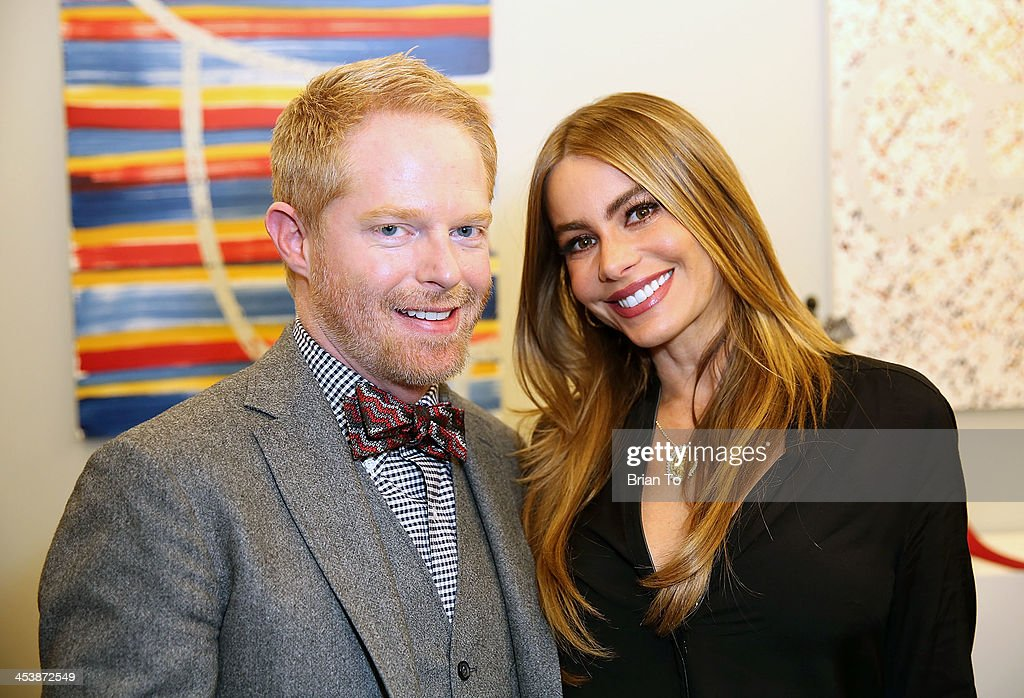 Actor Jesse Tyler Ferguson (L) and actress Sofia Vergara attend Tie The Knot Pop-Up Store at The Beverly Center on December 5, 2013 in Los Angeles, California.