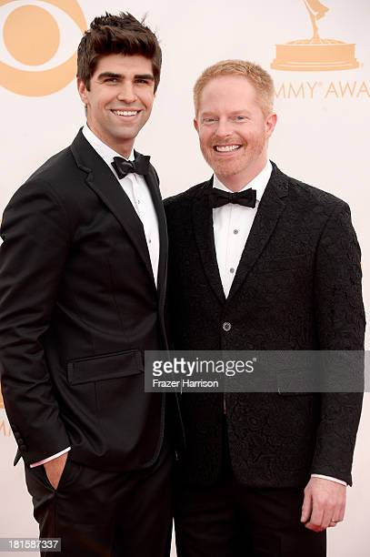 Actor Jesse Tyler Ferguson and attorney Justin Mikita arrive at the 65th Annual Primetime Emmy Awards held at Nokia Theatre LA Live on September 22...