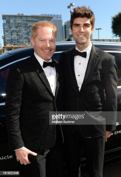 Actor Jesse Tyler Ferguson and attorney Justin Mikita arrive with Audi at the 65th Annual Primetime Emmy Awards held at Nokia Theatre LA Live on...