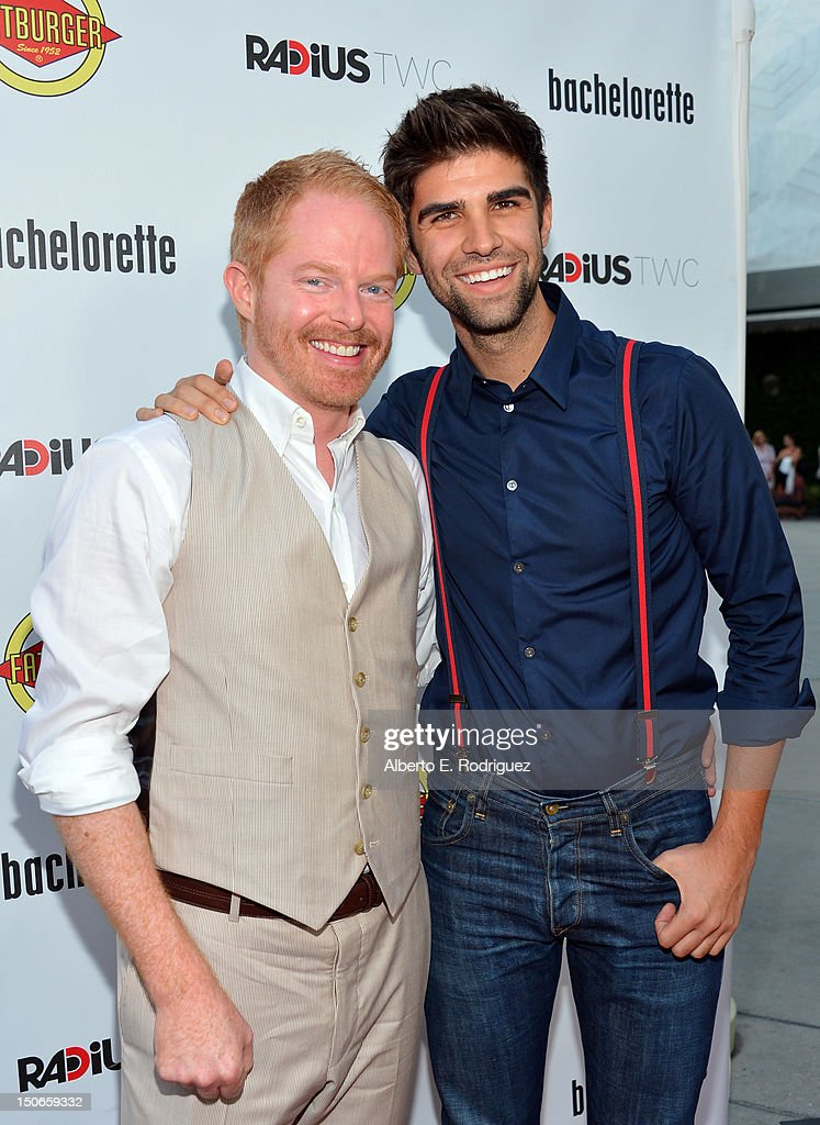 Actor Jesse Tyler Ferguson and Justin Mikita arrive at the premiere of RADiUS-TWC's 'Bachelorette' at ArcLight Cinemas on August 23, 2012 in Hollywood, California.