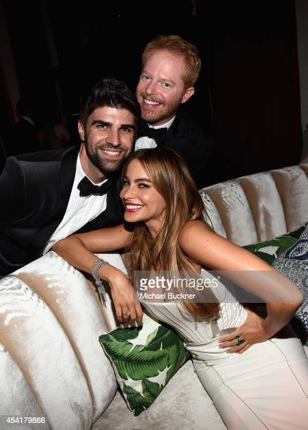 Actor Jesse Tyler Ferguson and spouse Justin Mikita and actress Sofia Vergara attend the FOX 20th Century FOX Television FX Networks and National...