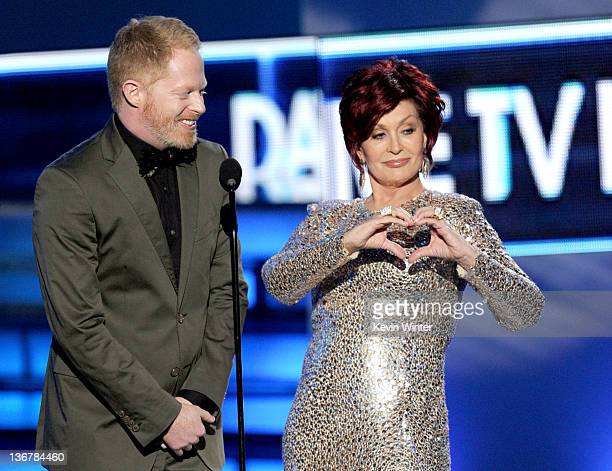 Actor Jesse Tyler Ferguson and TV personality Sharon Osbourne speak onstage at the 2012 People's Choice Awards at Nokia Theatre LA Live on January 11...
