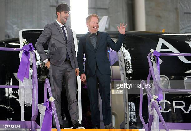 US actor Jesse Tyler Ferguson from the hit comedy 'Modern Family' who recently married his longterm partner Justin Mikita arrive in Auckland on...