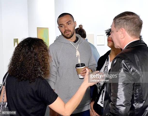 Actor Jesse Williams and Aryn Drake-Lee attend the Art Los Angeles Contemporary 2016 Opening Night at Barker Hangar on January 28, 2016 in Santa...