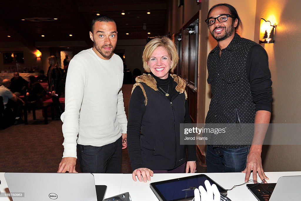 Actor Jesse Williams, DELL SMB of Global Communications Jennifer 'JJ' Davis and attorney Andre Des Rochers attend the Google + Hangout at the DELL #Inspire 100 Lounge on January 19, 2013 in Park City, Utah.