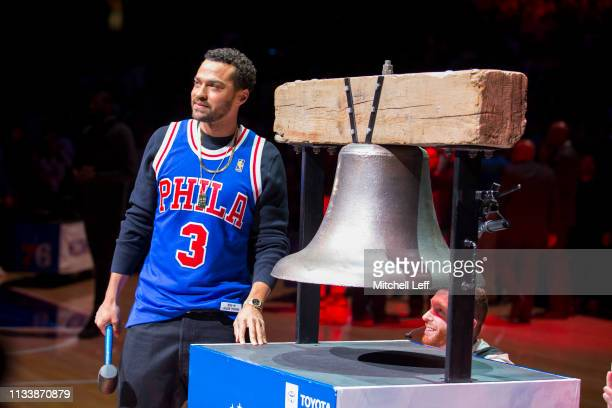 Actor Jesse Williams rings the bell prior to the game between the Golden State Warriors and Philadelphia 76ers at the Wells Fargo Center on March 2...