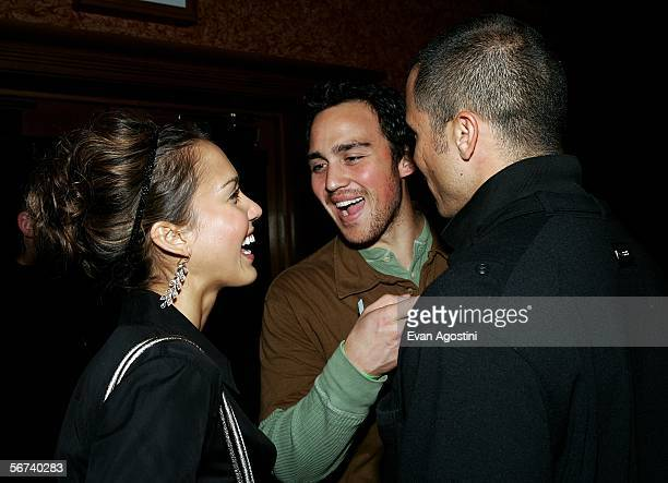Actor Jessica Alba her brother Joshua Alba and her boyfriend Cash Warren are seen in the green room during the 'Jimmy Kimmel Live' Show at Super Bowl...