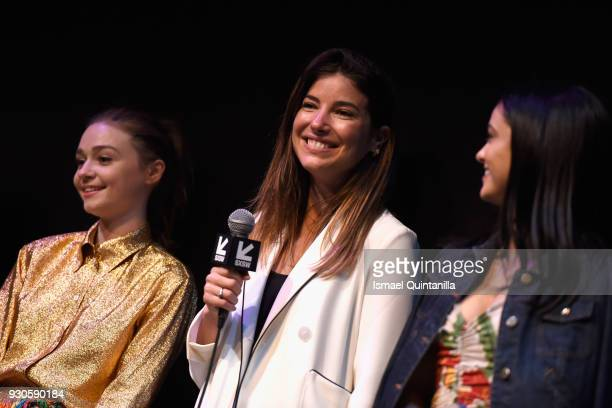 Actor Jessica Barden director Carly Stone and actor Camila Mendes speak onstage at the premiere of The New Romantic during SXSW at Stateside Theater...