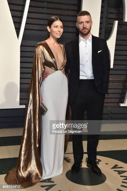 Actor Jessica Biel and actorrecording artist Justin Timberlake attend the 2017 Vanity Fair Oscar Party hosted by Graydon Carter at Wallis Annenberg...