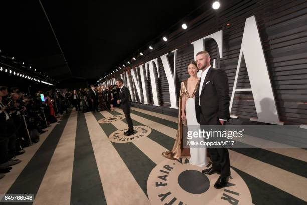 Actor Jessica Biel and actor-recording artist Justin Timberlake attend the 2017 Vanity Fair Oscar Party hosted by Graydon Carter at Wallis Annenberg...