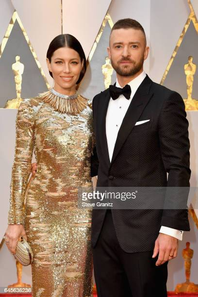 Actor Jessica Biel and entertainer Justin Timberlake attend the 89th Annual Academy Awards at Hollywood Highland Center on February 26 2017 in...