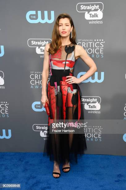 Actor Jessica Biel attends The 23rd Annual Critics' Choice Awards at Barker Hangar on January 11 2018 in Santa Monica California