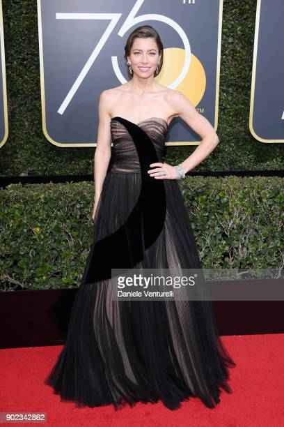 Actor Jessica Biel attends The 75th Annual Golden Globe Awards at The Beverly Hilton Hotel on January 7 2018 in Beverly Hills California