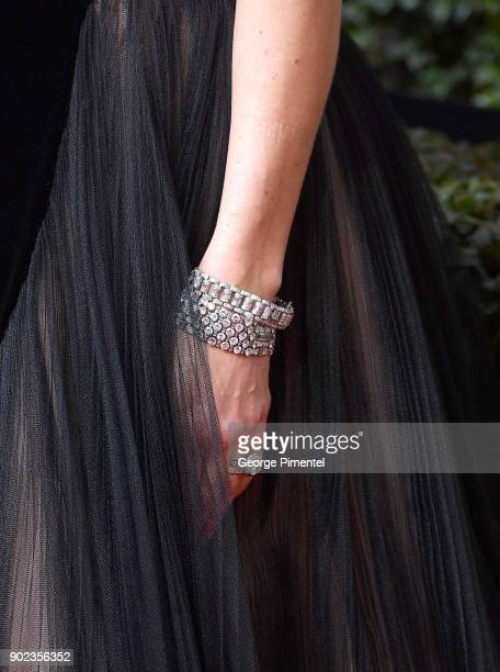 Actor Jessica Biel jewelry detail attends The 75th Annual Golden Globe Awards at The Beverly Hilton Hotel on January 7 2018 in Beverly Hills...