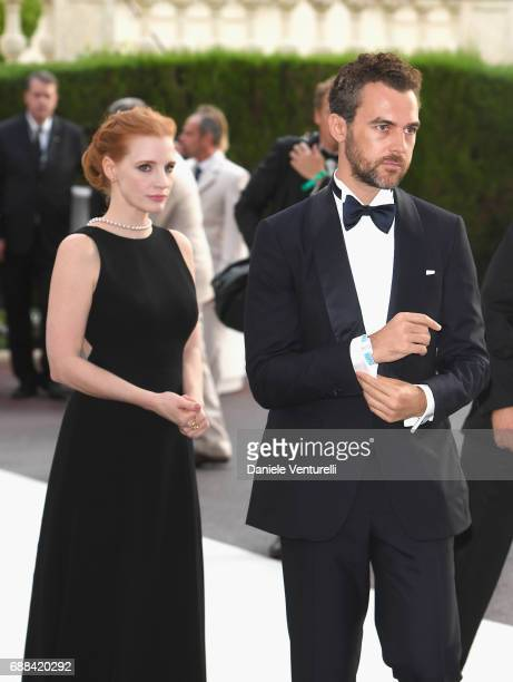 Actor Jessica Chastain and Gian Luca Passi de Preposulo arrive at the amfAR Gala Cannes 2017 at Hotel du CapEdenRoc on May 25 2017 in Cap d'Antibes...
