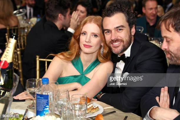 Actor Jessica Chastain and Gian Luca Passi de Preposulo attend the 23rd Annual Critics' Choice Awards on January 11 2018 in Santa Monica California