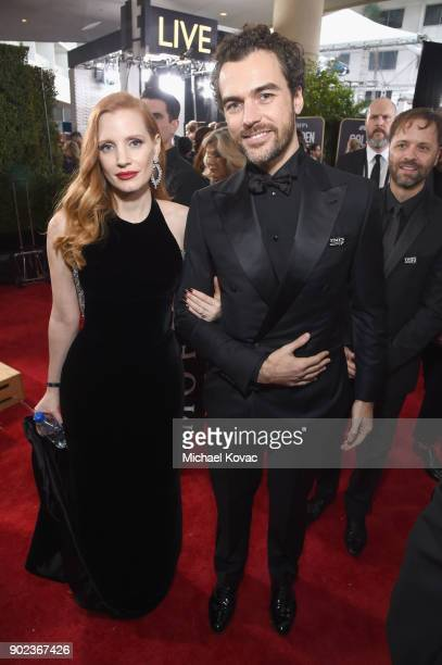 Actor Jessica Chastain and Gian Luca Passi de Preposulo celebrate The 75th Annual Golden Globe Awards with Moet Chandon at The Beverly Hilton Hotel...