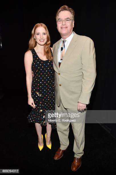 Actor Jessica Chastain and writer Aaron Sorkin at CinemaCon 2017 The State of the Industry Past Present and Future and STXfilms Presentation at The...