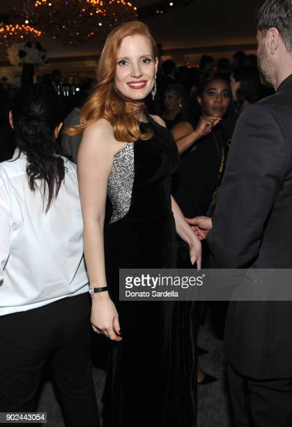 Actor Jessica Chastain attends the 2018 InStyle and Warner Bros 75th Annual Golden Globe Awards PostParty at The Beverly Hilton Hotel on January 7...