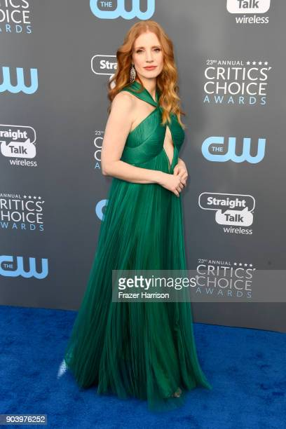 Actor Jessica Chastain attends The 23rd Annual Critics' Choice Awards at Barker Hangar on January 11 2018 in Santa Monica California