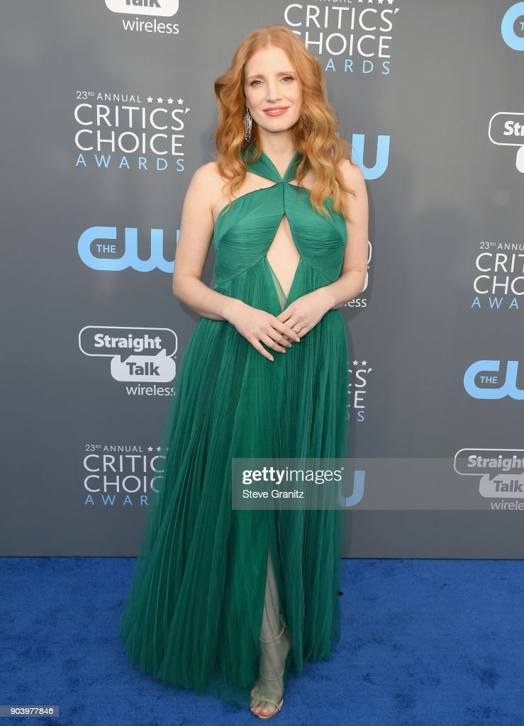 Actor Jessica Chastain attends The 23rd Annual Critics' Choice Awards at Barker Hangar on January 11, 2018 in Santa Monica, California.