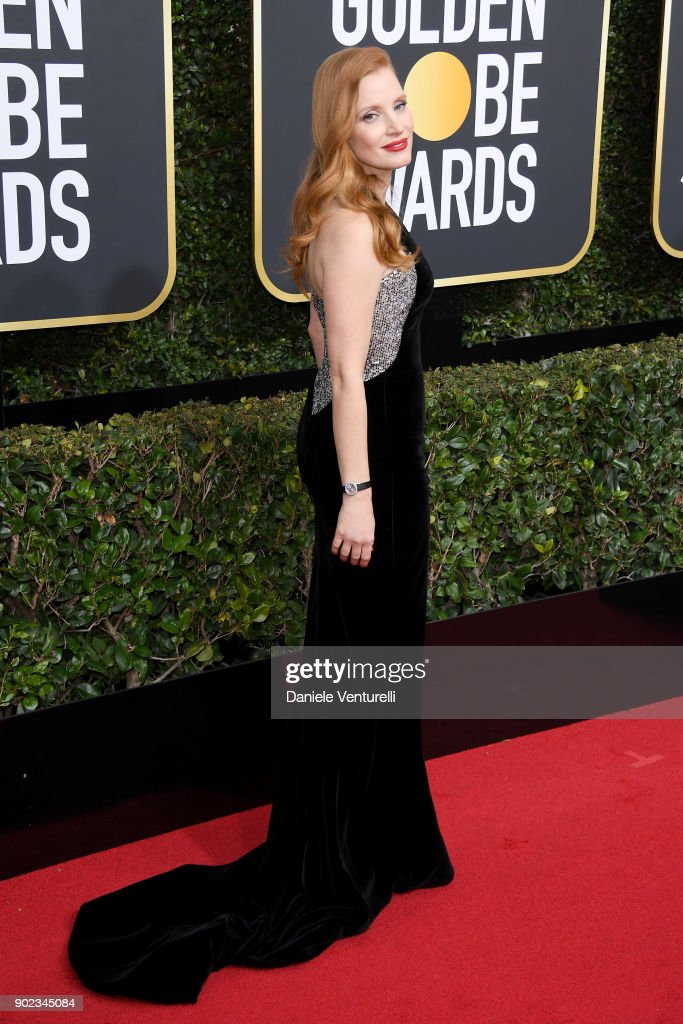 Actor Jessica Chastain attends The 75th Annual Golden Globe Awards at The Beverly Hilton Hotel on January 7, 2018 in Beverly Hills, California.