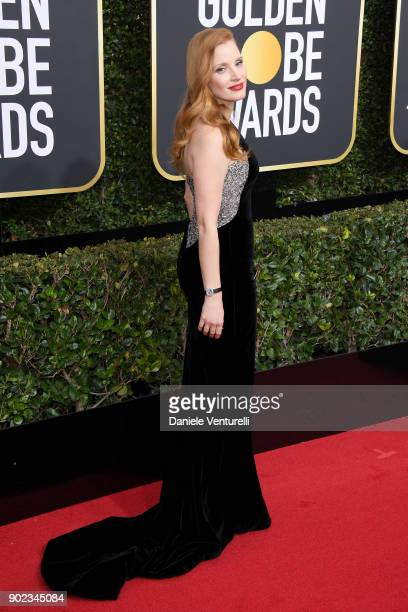 Actor Jessica Chastain attends The 75th Annual Golden Globe Awards at The Beverly Hilton Hotel on January 7 2018 in Beverly Hills California