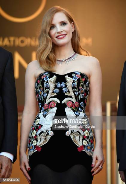 Actor Jessica Chastain attends the Ismael's Ghosts screening and Opening Gala during the 70th annual Cannes Film Festival at Palais des Festivals on...