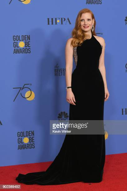 Actor Jessica Chastain poses in the press room during The 75th Annual Golden Globe Awards at The Beverly Hilton Hotel on January 7 2018 in Beverly...