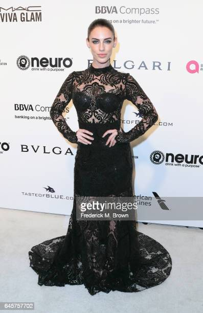 Actor Jessica Lowndes attends the 25th Annual Elton John AIDS Foundation's Academy Awards Viewing Party at The City of West Hollywood Park on...