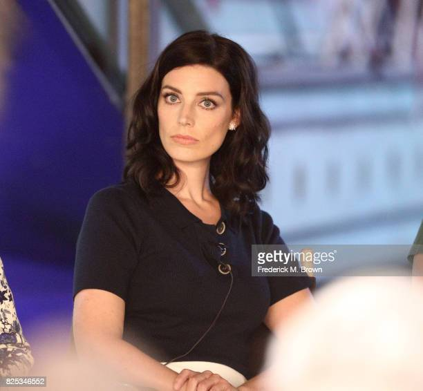 Actor Jessica Pare of 'Seal Team' speaks onstage during the CBS portion of the 2017 Summer Television Critics Association Press Tour at CBS Studio...
