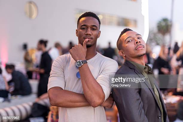 Actor Jessie T Usher and Actor Allen Maldonado attends the after party for the Premiere Of FXX's You're The Worst Season 3 at Neuehouse Hollywood on...