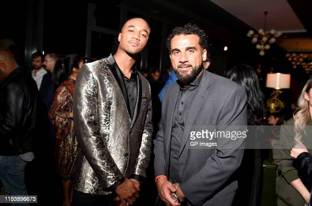 SHAFT actor Jessie T Usher and Dwayne De Rosario attend the SHAFT Toronto tastemakers launch reception held Bisha Hotel on June 4 2019 in Toronto...