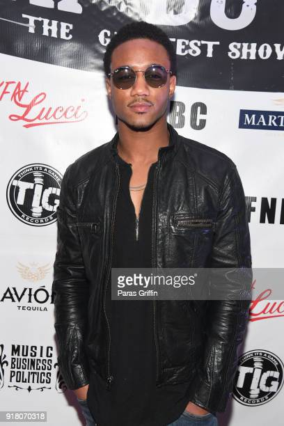Actor Jessie T Usher attends Trap Du Soleil YFN Lucci Birthday Celebration at Mechanicsville on February 13 2018 in Atlanta Georgia