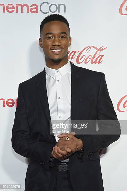 Actor Jessie Usher one of the recipients of the Ensemble of the Universe Award for Independence Day Resurgence attend the CinemaCon Big Screen...