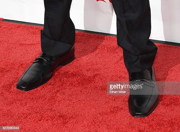 Actor Jessie Usher shoes detail one of the recipients of the Ensemble of the Universe Award for Independence Day Resurgence attends the CinemaCon Big...
