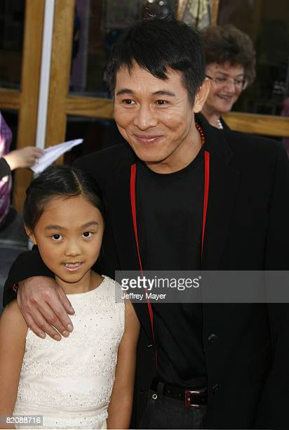 Actor Jet Li and daughter Jane arrive at the American Premiere of The Mummy Tomb Of The Dragon Emperor at the Gibson Amphitheatre on July 27 2008 in...