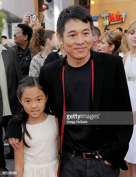 Actor Jet Li and daughter Jane arrive at the American Premiere of The Mummy Tomb Of The Dragon Emperor at the Gibson Amphitheatre on July 26 2008 in...