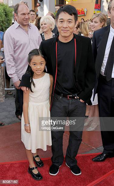 Actor Jet Li and Daughter Jane arrives at the American Premiere of The Mummy Tomb Of The Dragon Emperor at the Gibson Amphitheatre on July 26 2008 in...