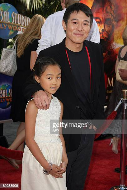 Actor Jet Li and his daughter Jane arrive for the premiere of The Mummy Tomb of the Dragon Emperor in Studio City on July 27 2008 AFP PHOTO / VALERIE...
