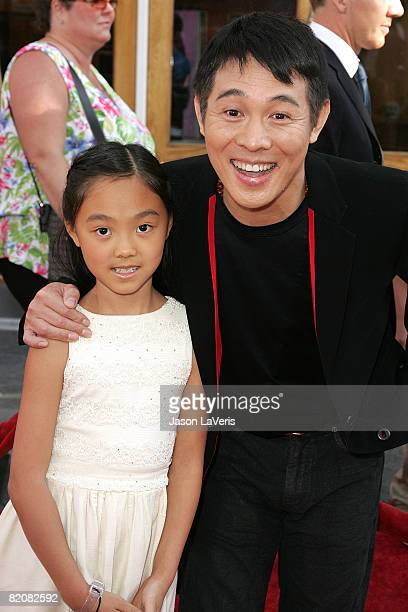 Actor Jet Li and his daughter Jane attend Universal Picture's premiere of The Mummy Tomb of The Dragon Emperor at Universal City Walk on July 27 2008...