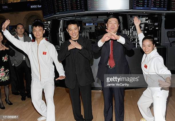 Actor Jet Li and Vice President of the Chinese Wushu Association He Qinglong ring the closing bell at the New York Stock Exchange on August 18, 2011...